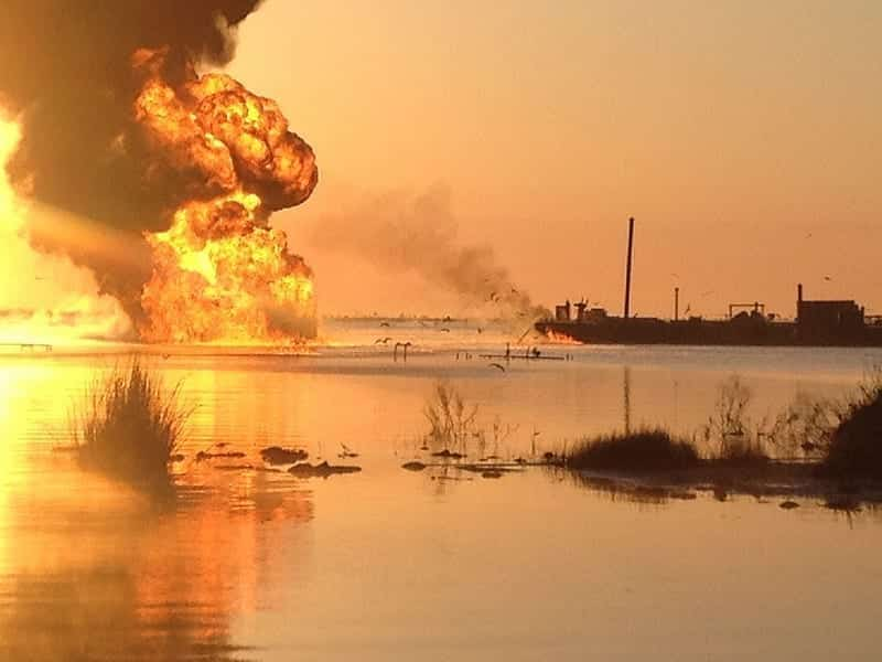 A pipeline burns in the Gulf of Mexico, south of New Orleans.