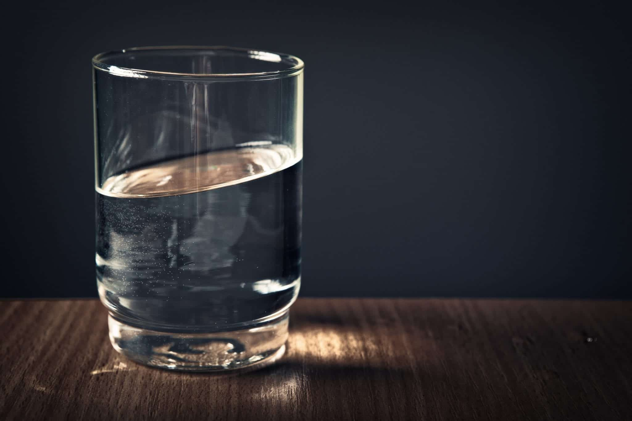 Glass of clear water; image by Stephan Müller, via Pexels.com, CC0.