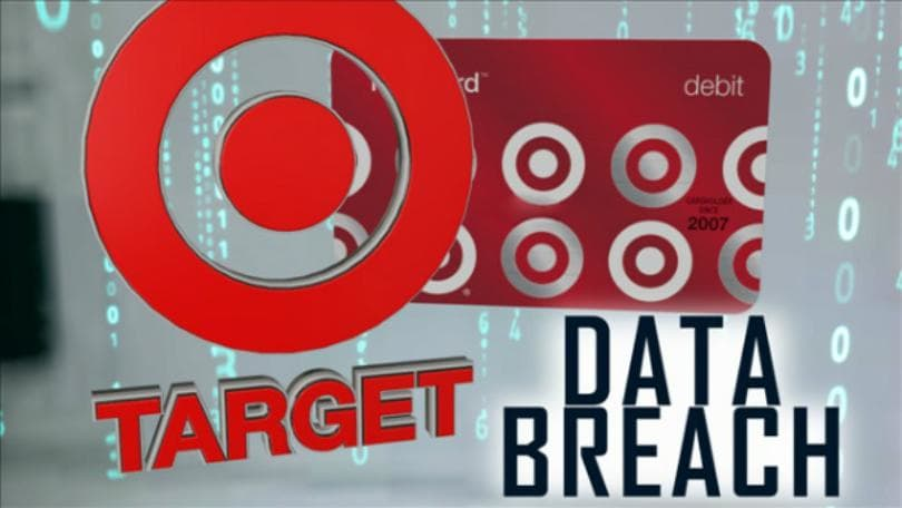 Image of the Target logo and the words 'Data Breach' in black