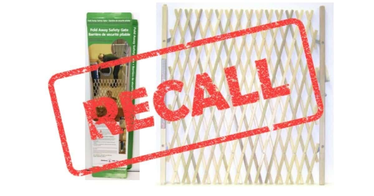 Image of the recalled Madison Mill Safety Gate with the word RECALL in red.