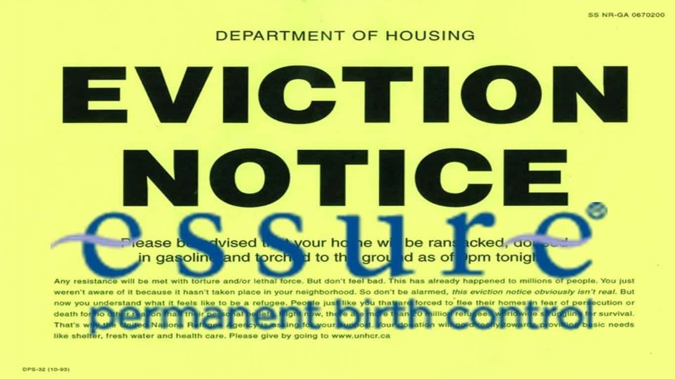 Essure eviction notice; image courtesy of www.dailypetition.com.