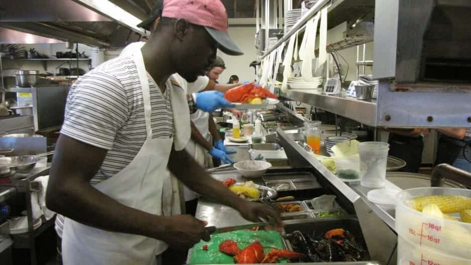 Cooks preparing food at Home Port restaurant in Martha's Vineyard.