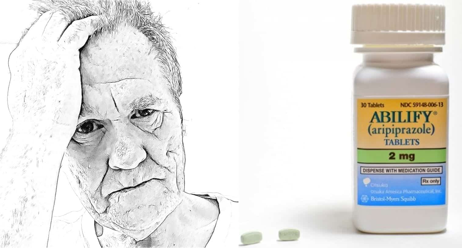 Abilify causes some patients a great deal of despair. Composite image: man courtesy of www.Pixabay.com under CC0 Creative Commons; Abilify courtesy of https://commons.wikimedia.org/wiki/File:Abilify_2mg.jpg.