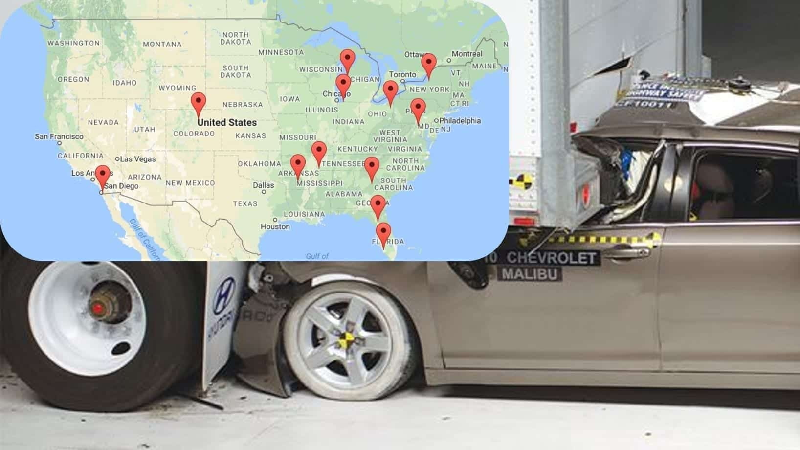 Karth's map showing crash-related deaths overlaid on a photo of a vehicle test with the vehicle crashing into the rear of a semi-truck. Map courtesy of www.fortrucksafety.com; crash test photo courtesy of www.iihs.org.