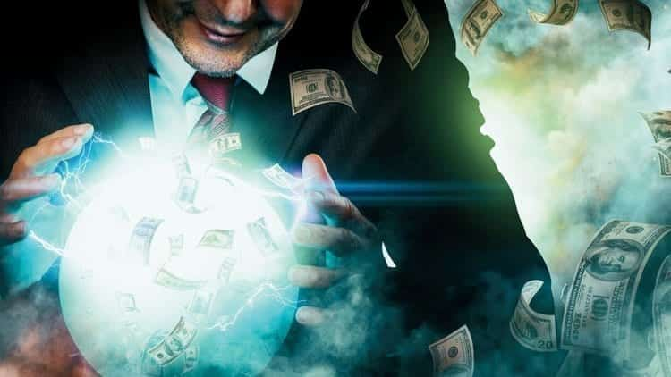 Man with crystal ball and money; image courtesy www.entrepreneur.com, Jesse Lenz.