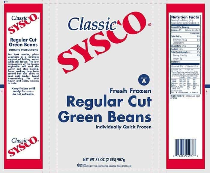 Image of a Recalled Green Bean Sysco Label