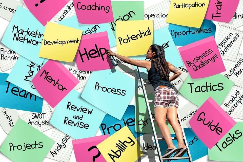 "Sticky notes with workplace terminology and a woman spray painting ""Help"" on one note; image by Alexas_Fotos via pixabay, CC0."
