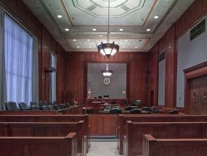 Image of an empty courtroom; image courtesy of 12019 via Pixabay, www.pixabay.com