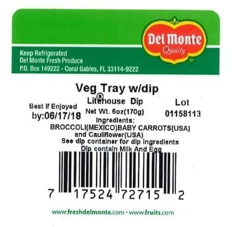 Image of a Label of Recalled Del Monte Veggie Tray