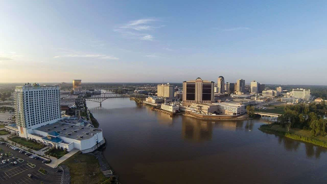 Image of Downtown Shreveport (right) and Bossier City (left)