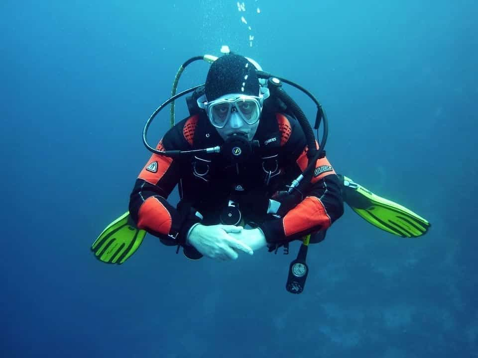 Image of a Scuba Diver Under Water