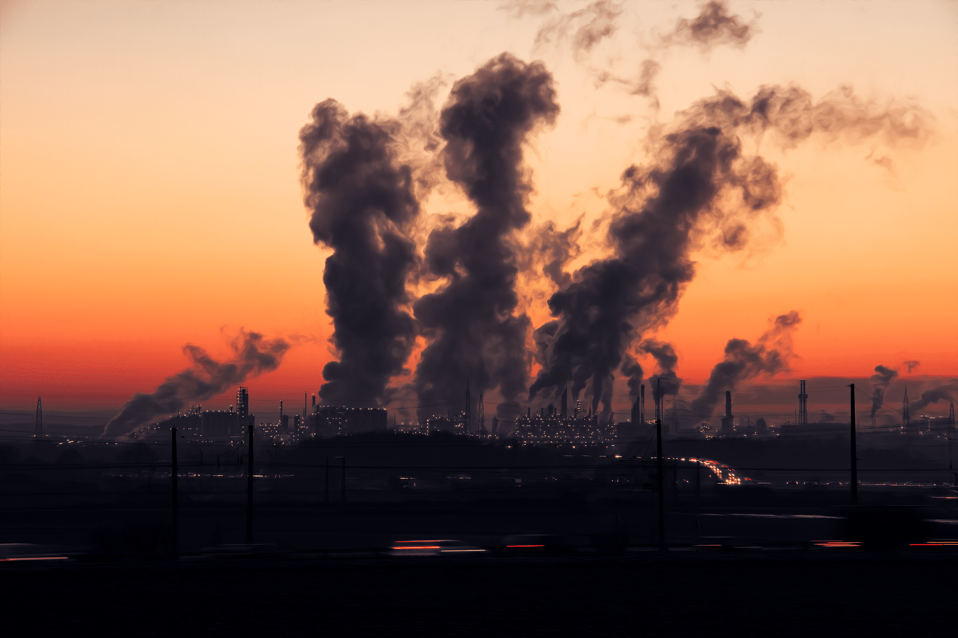 Air pollution at sunrise; image by SD-Pictures, via Pixabay, CC0.