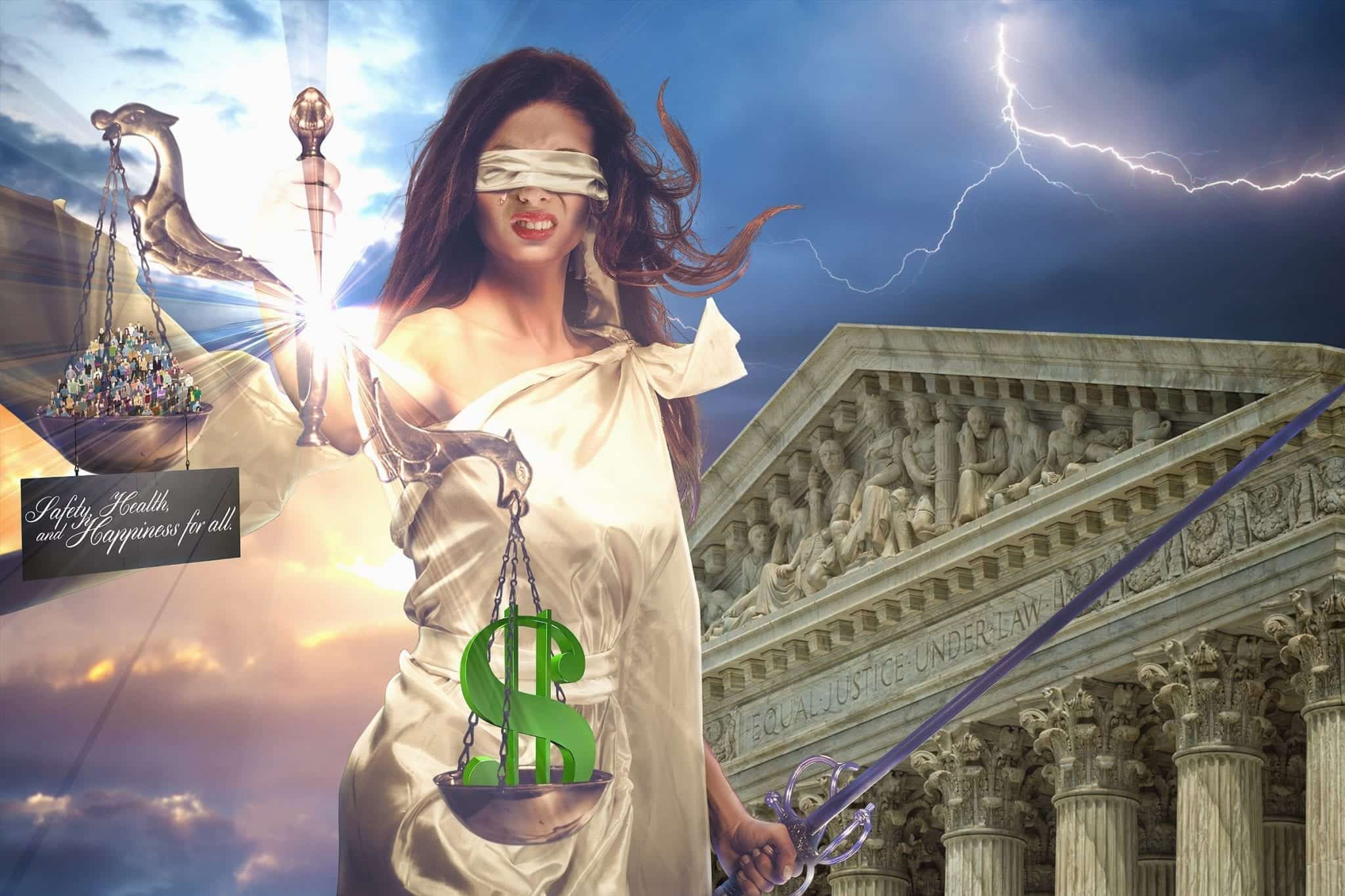 """Safety, health, and happiness for all;"" Lady Justice graphic by Neil Angeles."