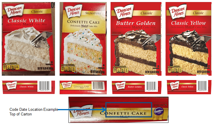 Image of the Recalled Duncan Hines Cake Mixes