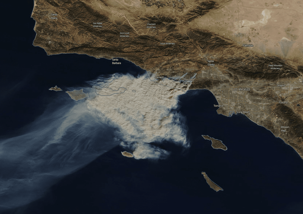 The Woolsey Fire, November 19, 2018; image by Peter Buschmann, Forest Service USDA, Public domain.Woolsey Fire satellite image, November 9, 2018; image by NASA MODIS (TERRA Satellite), Public domain, via Wikimedia Commons.
