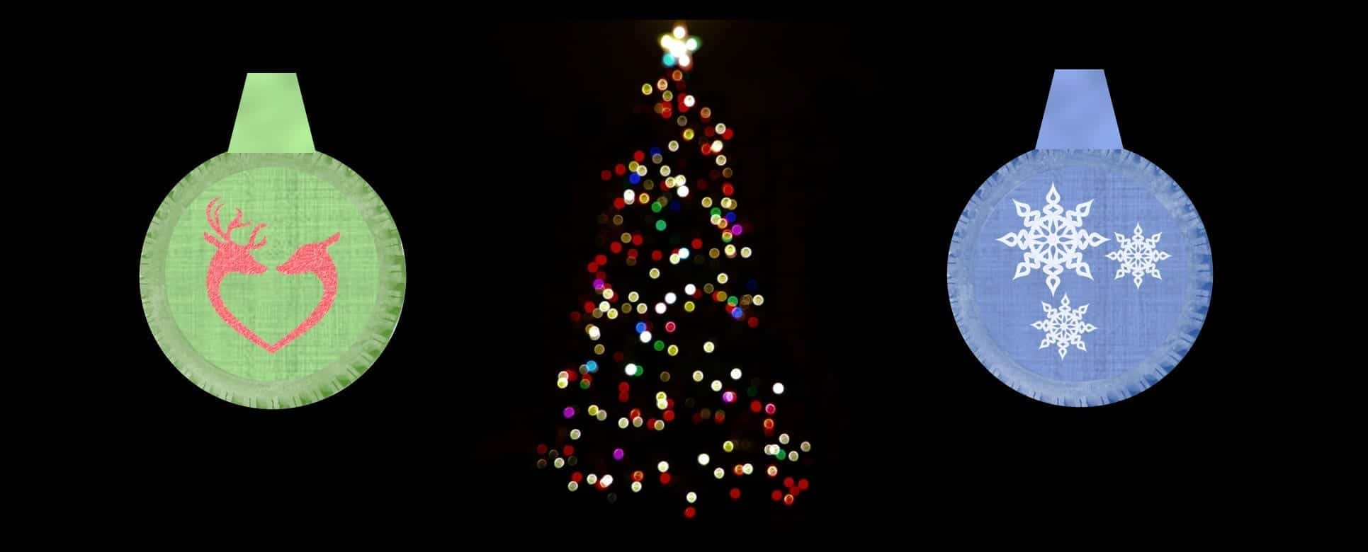 Composite image of tire ornaments and Christmas tree by editor. See end of post for photo credits.