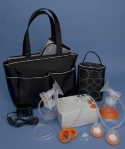 Breast pump with tote and kit