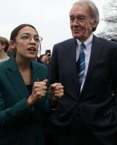 U.S. House Rep. Alexandria Ocasio-Cortez (D-NY) and U.S. Senator Ed Markey (D-MA), sponsors of the Green New Deal resolution.