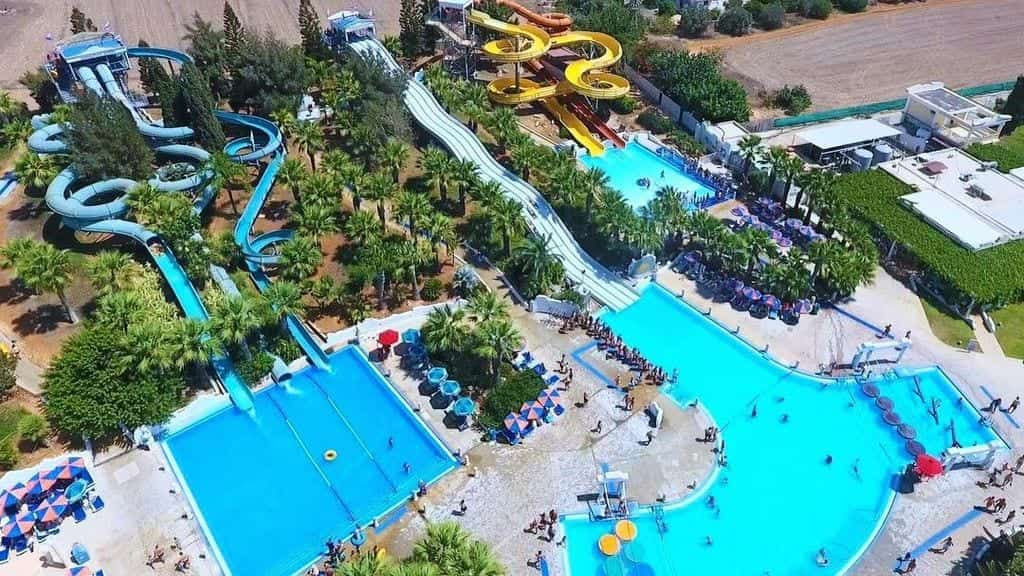 Aerial view of a waterpark