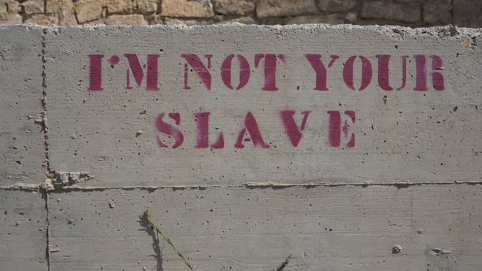 I'm not your slave, written on a stone
