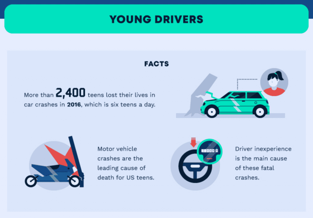Facts about young drivers; graphic courtesy of the author.