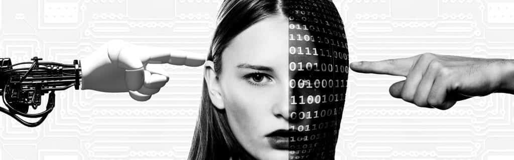 Woman's head with robot hand touching human face, while human hand touches face covered in binary code; image by geralt, via Pixabay.com.