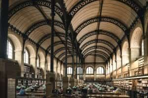 Interior of library in Paris, France; image by John Towner, via unsplash.com.