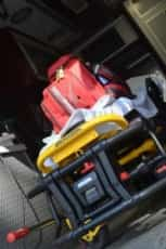 Medical supplies in an ambulance