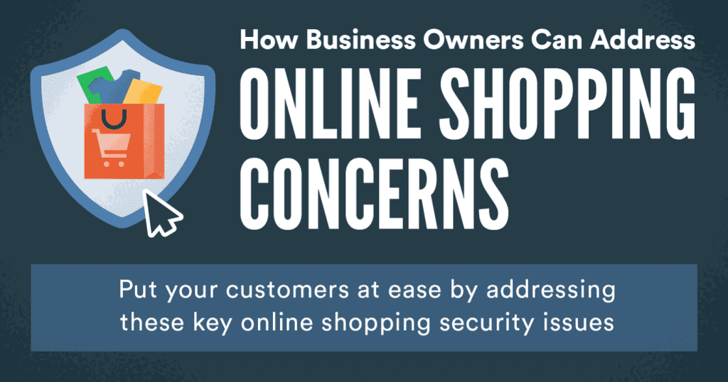 """Graphic saying """"How Business Owners Can Address Online Shopping Concerns,"""" with a full shopping bag surrounded by a badge; graphic courtesy of author."""