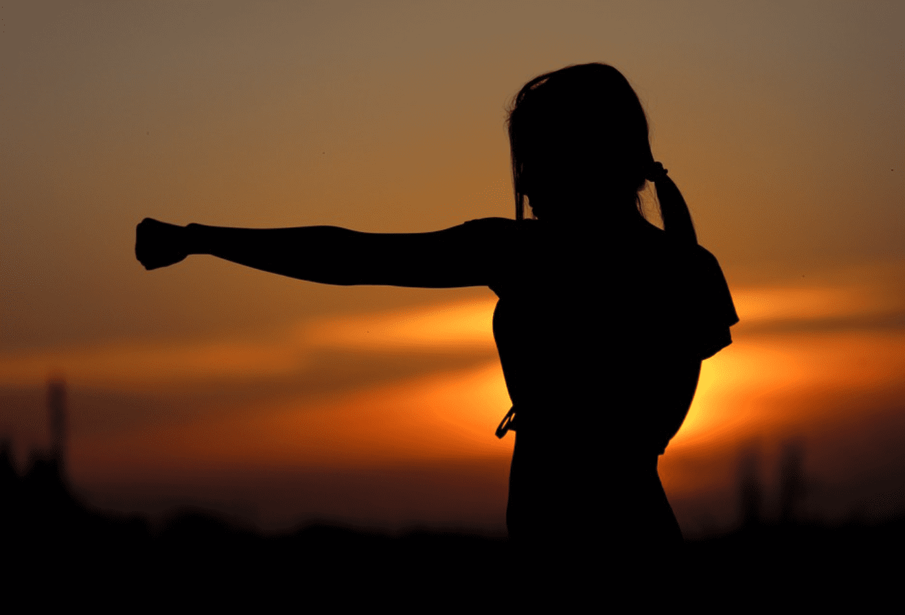 Silhouette of woman practicing Karate at sunset; image by Klimkin, via Pixabay.com.