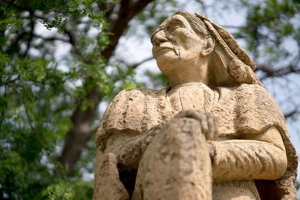 A stone statue of a Native American man looking into the distance, with a tree in the background.