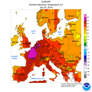 A map of Europe colored with glowing oranges and reds signifying heat levels.