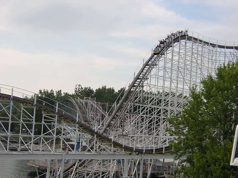 Hoosier Hurricane roller coaster at Indiana Beach amusement park