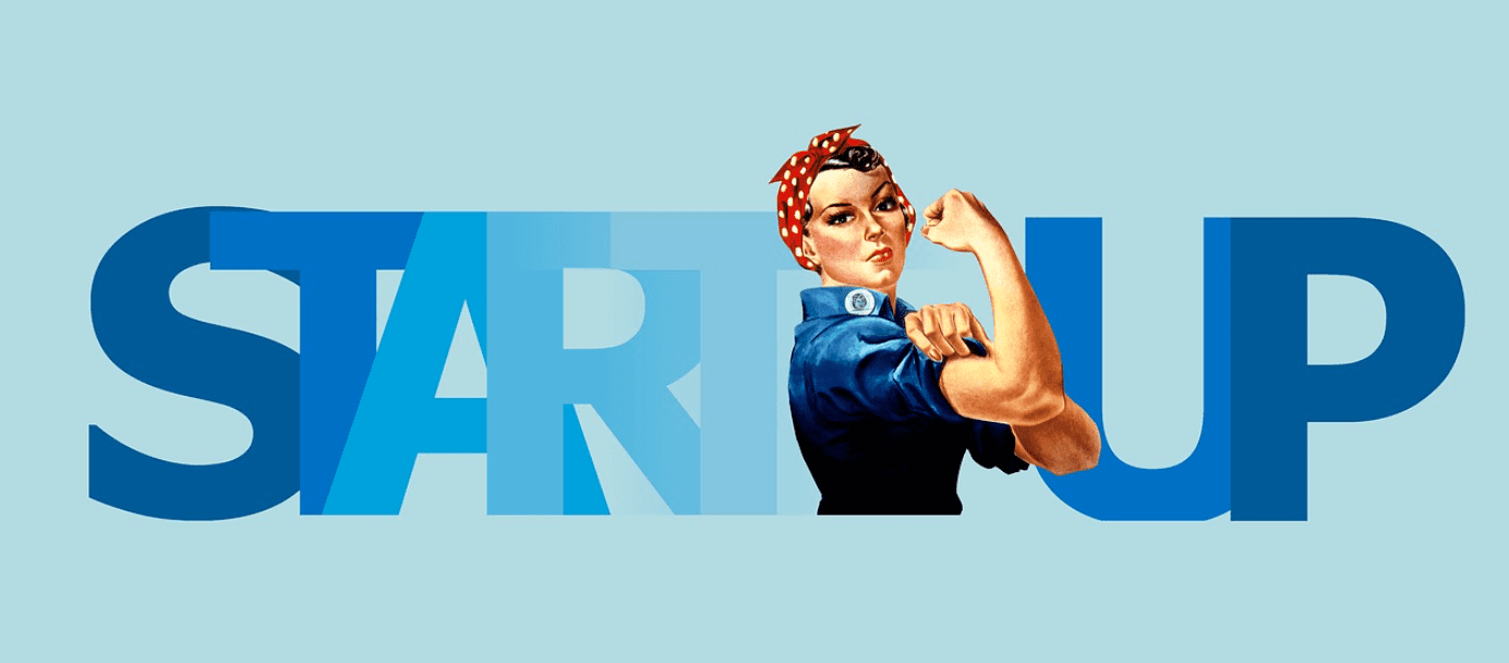 "Rosie the Riveter in front of the word ""Startup;"" image by geralt, via Pixabay.com."
