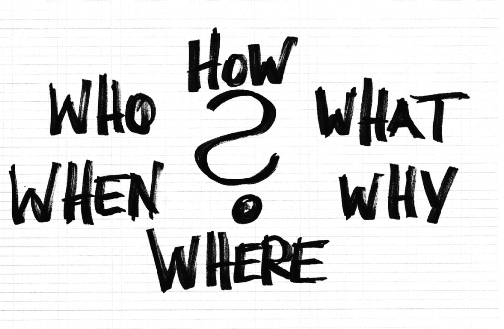 """Black and white writing of """"Who, What, When, Where, Why, How?"""" Image by Geralt, via Pixabay.com."""