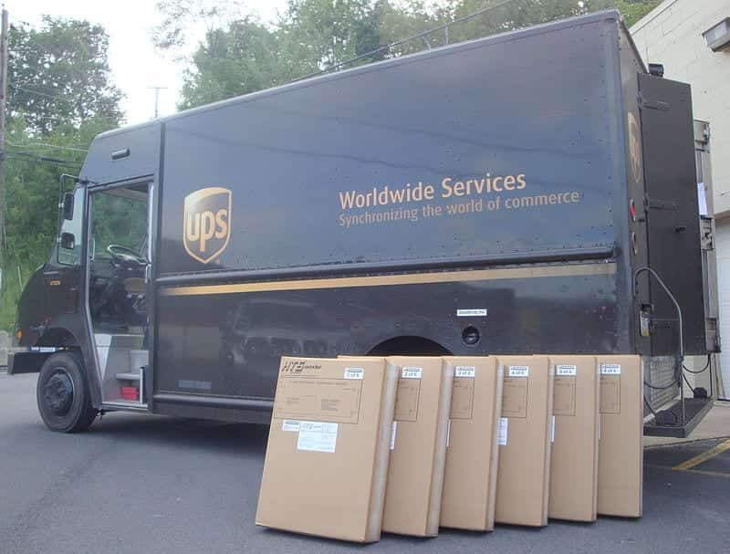 UPS delivery van with packages