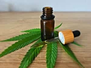 Brown glass bottle of oil with dropper, resting on marijuana leaf; image by CBD Infos, via Unsplash.com.