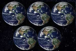 Five identical images of the Earth seen from space.
