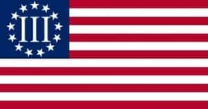 A flag with red and white stripes, and a blue field in the upper left with the Roman numeral III surrounded by stars.